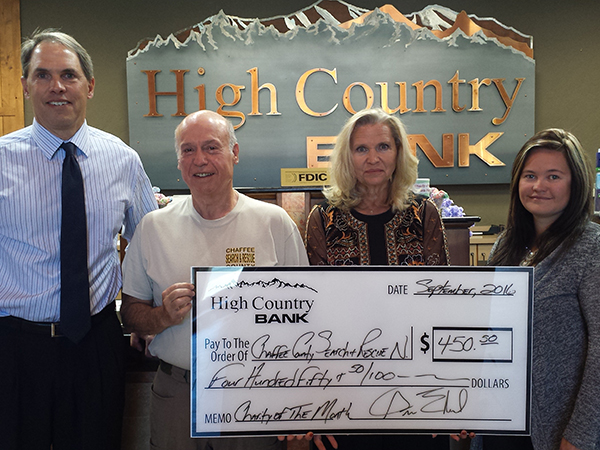 High Country Bank Employees present donation check to Representative of Chaffee County Search and Rescue N